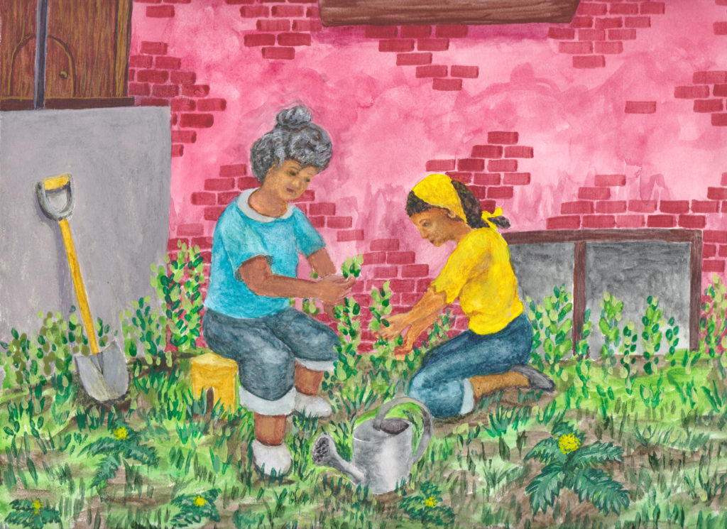 Woman with grey and brown hair harvests mint in front of brick building. Adolescent girl with yellow bandana in hair assists, kneeling. Shovel and watering can nearby. Yellow flowers of dandelions speckle ground.