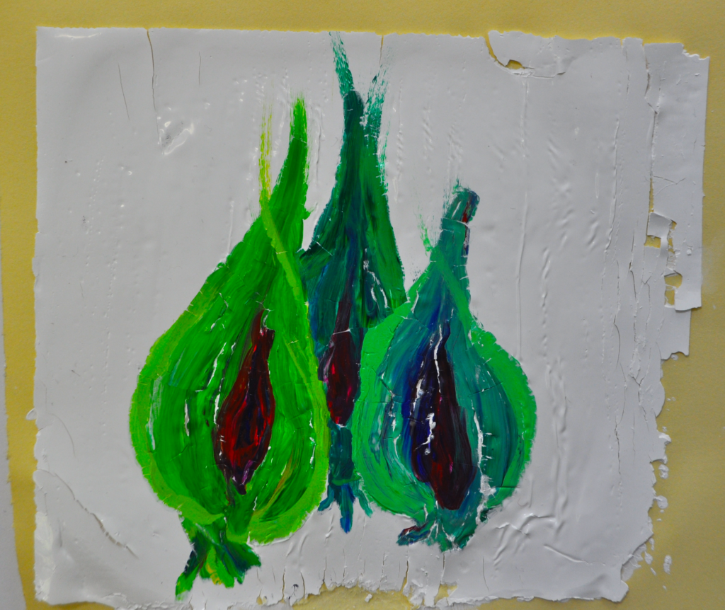 Strappo monoprint of acrylic green onions tips flairing upwards, with magenta centers in a thin fish shape, onions bisected.