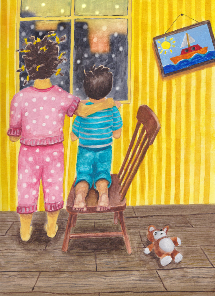 Young girl hair in many braids with yellow ties puts right hand on younger boys' shoulder as they look out the window to see buildings and snow and a sunrise. Boy kneels on a chair. Picture hangs askew on wall. Teddy bear on floor.