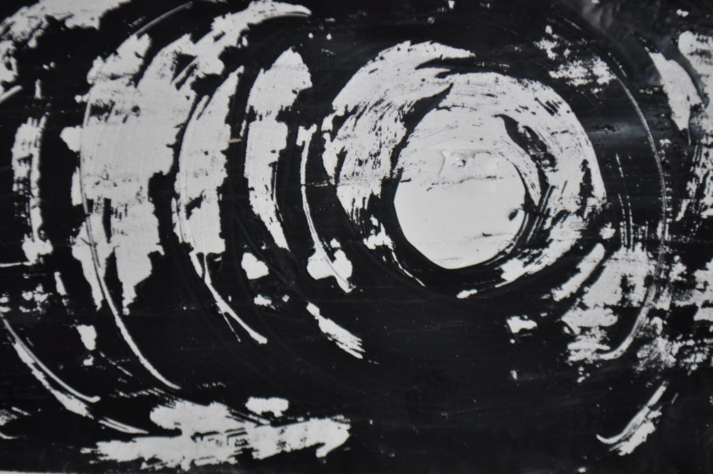 Black and white moon monoprint