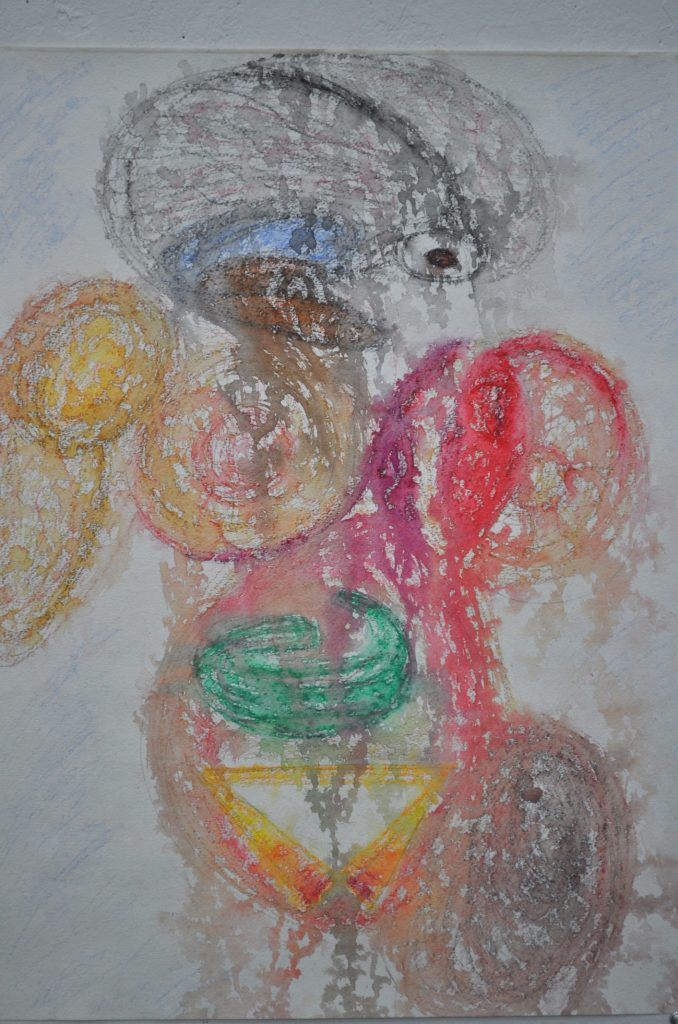 Watercolor pencil drawing self portrait, with brain and eyeball looking left, shoulder, breast, internal organs of abdomen, an right leg in various and bright colors. Rain drops have splattered the picture smearing repeated moments as if tears have fallen.