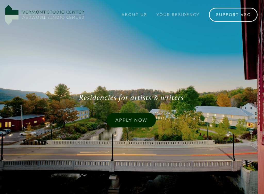 Webpage homepage of Vermont Studio Center artist retreat, with ariel photo of bridge, gallery, studios, and fall foliage with blue sky.